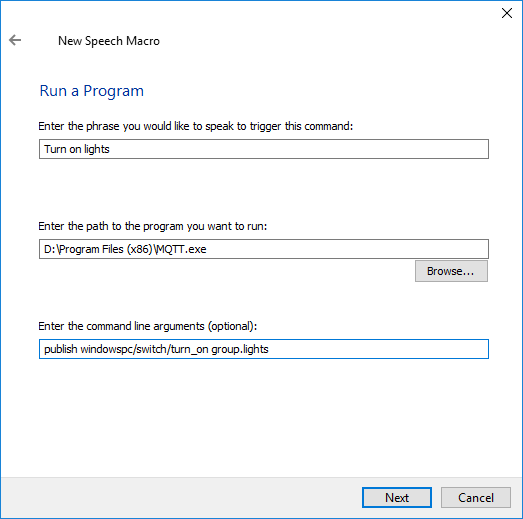 Control HA using Windows Speech Recognition - Configuration