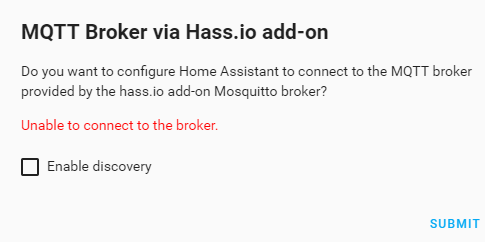 MQTT Broker addon on Hassio - Unable to connect to the broker