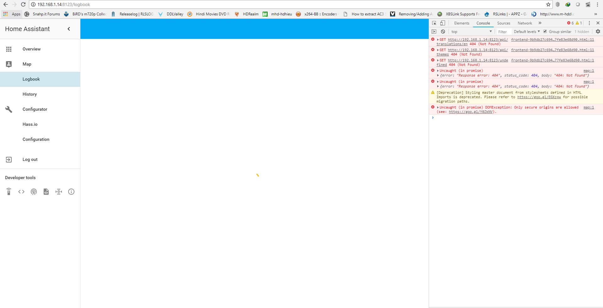 Hass io dashboard partially working after update! dashboard loading