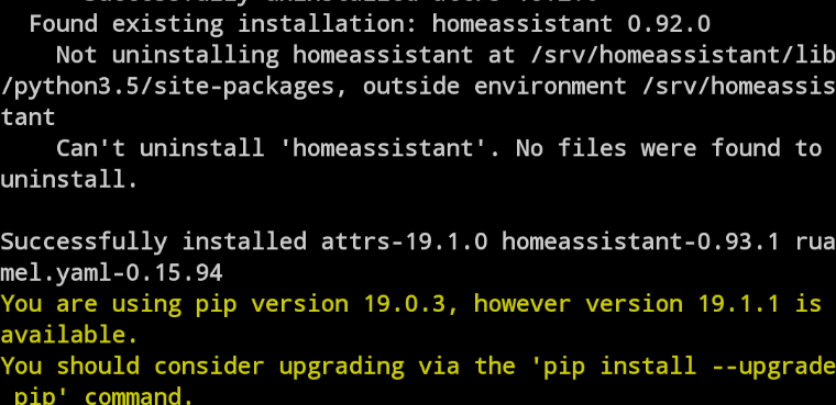 Can't uninstall homeassistant during upgrade in venv - Installation