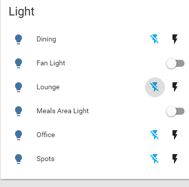 Lights now show lightning bolt for on/off instead of button
