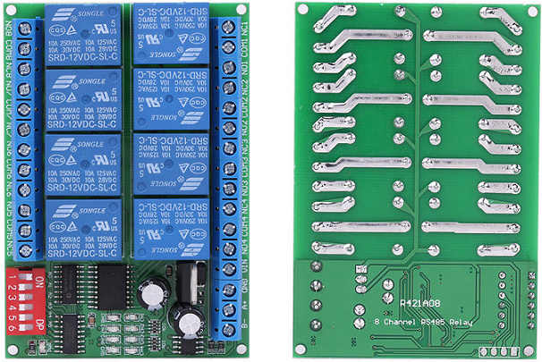 Configuration relay board type R421A08 - RS485 MODBUS RTU