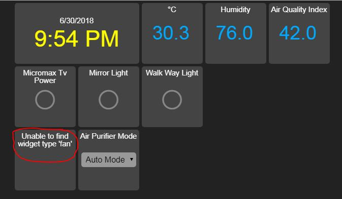 Error on HA Dashboard (AppDaemon): Unable to find widget type 'fan