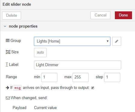 Nodered) Setting brightness from flow variable - Node-RED - Home