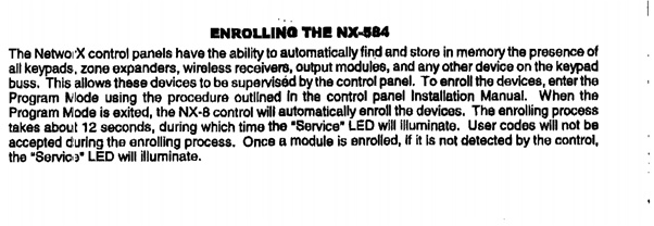Guide to setup of a NX584E alarm serial interface with HA